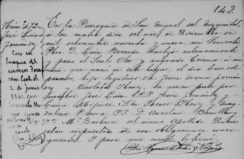 Jose Luis Fernandez Ibanez baptism S. Miguel del Mezq. 4 Dec 1899