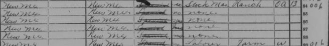 Adelina Ortega & Federico Rael family occupation details 1920