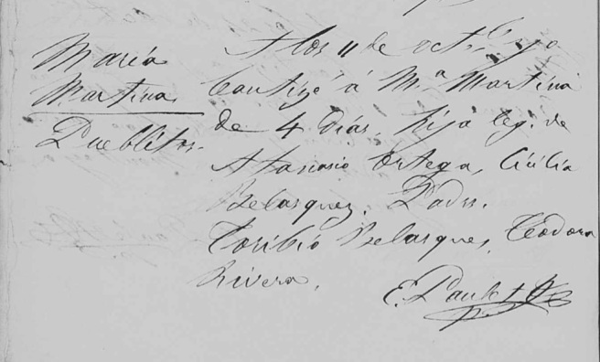 Maria Martina Ortega 1863 baptism Belen